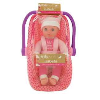 Dolls World Isabella 30cm Soft Bodied Doll and Car Seat Carrier