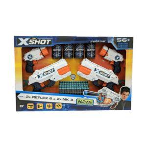 X-Shot 4-Pack Blasters - 2 x Reflex 6 and 2 x MK3