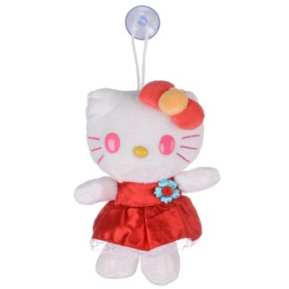 """7"""" Soft Plush Hello Kitty Toy With Suction Cup Window Mirror Red Bow"""