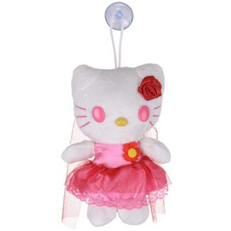 """7"""" Soft Plush Hello Kitty Toy With Suction Cup Window Mirror Red Veil"""