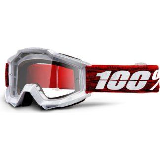 100% Accuri Anti Fog Clear Lens MTB Goggles - Graham Clear/Red