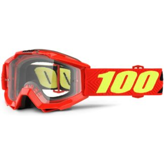 100% Accuri Youth Anti Fog Clear Lens MTB Goggles - Saarinen Clear/Red