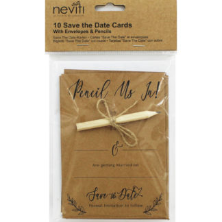 Product shot 10 Kraft Wedding Save The Date Cards With Envelopes