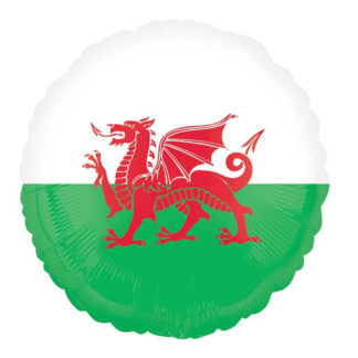 Product shot 18 Inch Welsh Flag Helium Balloon