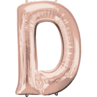 Product shot 34 Inch Rose Gold Letter D Helium Balloon