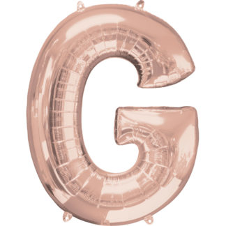 Product shot 34 Inch Rose Gold Letter G Helium Balloon