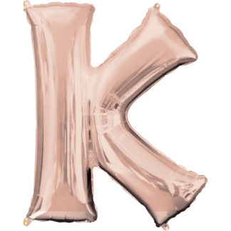 Product shot 34 Inch Rose Gold Letter K Helium Balloon