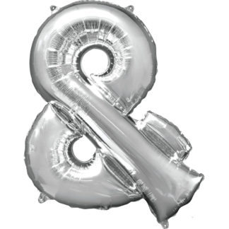 Product shot 34 Inch Silver Ampersand Symbol Helium Balloon