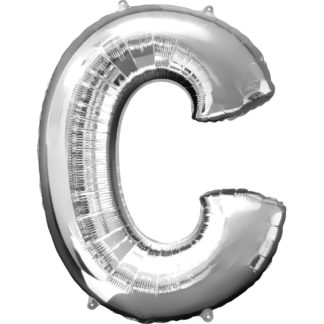 Product shot 34 Inch Silver Letter C Helium Balloon