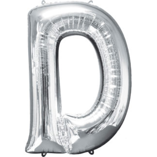 Product shot 34 Inch Silver Letter D Helium Balloon