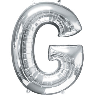 Product shot 34 Inch Silver Letter G Helium Balloon