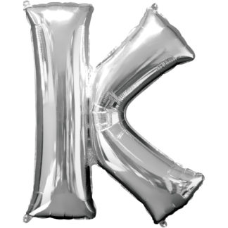 Product shot 34 Inch Silver Letter K Helium Balloon