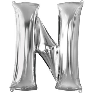 Product shot 34 Inch Silver Letter N Helium Balloon