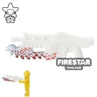 Product shot BrickForge - Gears of War - Shredder Gun - White with Blood Splatter