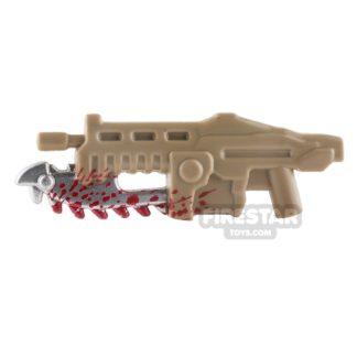 Product shot BrickForge - Shredder Gun - Dark Tan with Blood Splatter