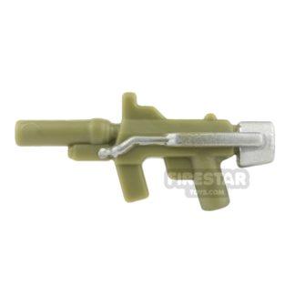 Product shot BrickForge - Sub Orbital Machine Gun - Olive Green and Silver