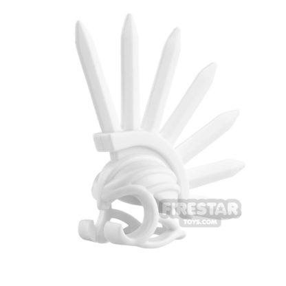 Product shot BrickWarriors - Bladed Helm - White