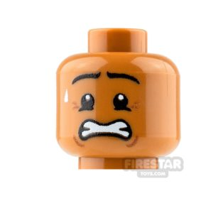 Product shot Custom Mini Figure Heads - Anxious - Male - Medium Dark Flesh