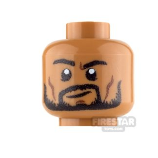 Product shot Custom Mini Figure Heads - Beard with Smile - Medium Dark Flesh