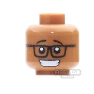 Product shot Custom Mini Figure Heads - Grin With Glasses - Medium Dark Flesh