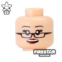 Product shot Custom Mini Figure Heads - Grin with Glasses - Light Flesh