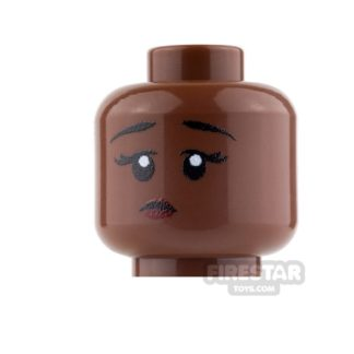 Product shot Custom Mini Figure Heads - Perplexed Girl - Reddish Brown