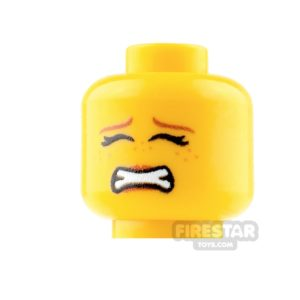 Product shot Custom Mini Figure Heads - Scared - Female - Yellow