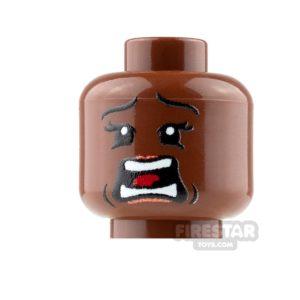 Product shot Custom Mini Figure Heads - Terrified - Female - Reddish Brown