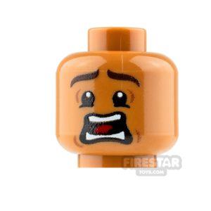 Product shot Custom Mini Figure Heads - Terrified - Male - Medium Dark Flesh