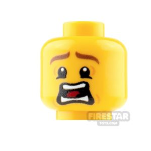 Product shot Custom Mini Figure Heads - Terrified - Male - Yellow