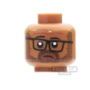 Product shot Custom Mini Figure Heads - Tired Office Worker - Medium Dark Flesh