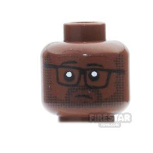 Product shot Custom Mini Figure Heads - Tired Office Worker - Reddish Brown