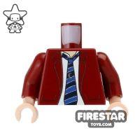 Product shot Custom Mini Figure Torso - Jacket and Tie - Dark Red