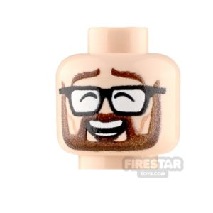 Product shot Custom Minifigure Heads Bearded Laugh Male