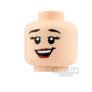 Product shot Custom Minifigure Heads - Big Grin Girl - Light Flesh