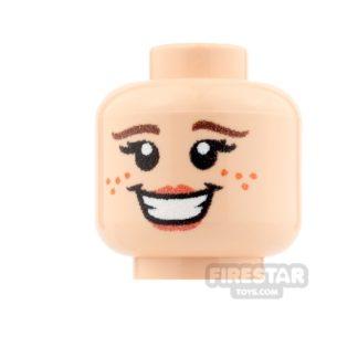 Product shot Custom Minifigure Heads - Big Smile Girl - Light Flesh