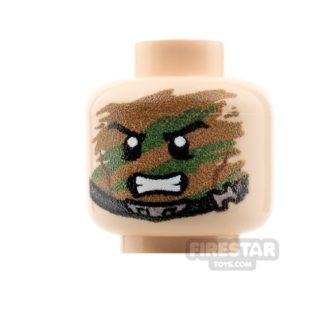 Product shot Custom Minifigure Heads - Camouflage Trooper - Light Flesh