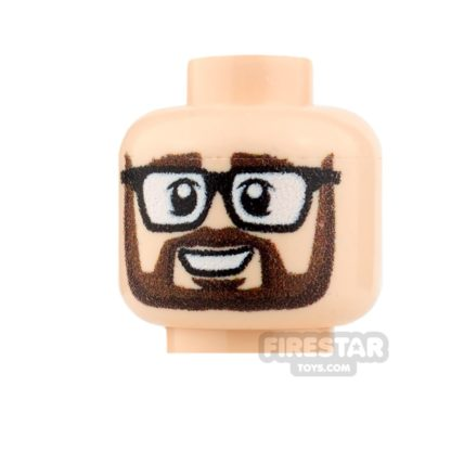 Product shot Custom Minifigure Heads Grin with Glasses Male