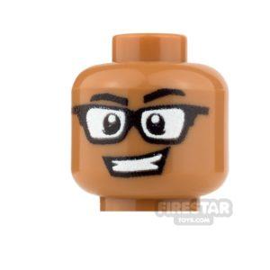 Product shot Custom Minifigure Heads - Grin with Glasses - Male - Medium Dark Flesh