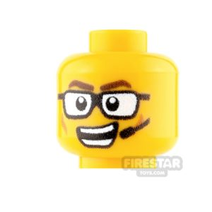 Product shot Custom Minifigure Heads - Male with Glasses and Headset