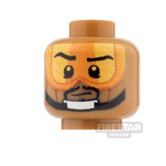 Product shot Custom Minifigure Heads - Rebel Pilot - Stern Male - Medium Dark Flesh