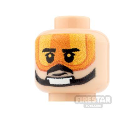 Product shot Custom Minifigure Heads - SW Rebel Pilot - Biggs - Light Flesh