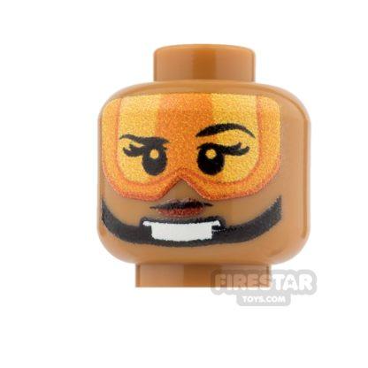 Product shot Custom Minifigure Heads - SW Rebel Pilot - Female - Medium Dark Flesh