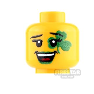 Product shot Custom Minifigure Heads - St Patrick's Day Reveler - Female - Yellow