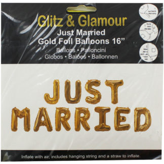 Product shot Gold Foil Just Married 16 Inch Balloons
