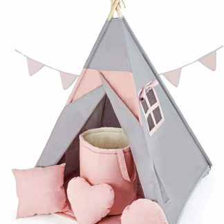 Product shot Grey/Powder Pink Teepee with Floor Mat
