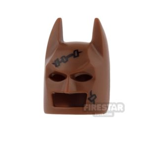 Product shot LEGO - Batman Mask - Angular Ears - Reddish Brown with Stitches