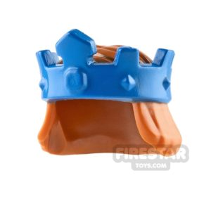 Product shot LEGO - Blue King's Crown with Hair - Dark Orange