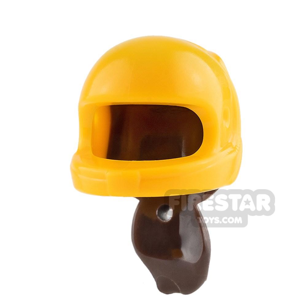 Product shot LEGO - Bright Light Orange Racing Helmet with Ponytail