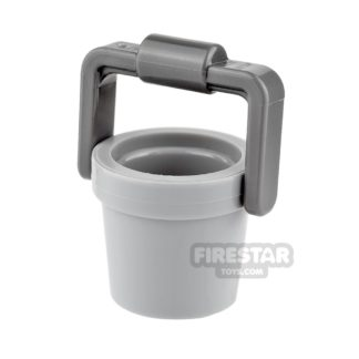 Product shot LEGO - Bucket - Light Blueish Gray with Dark Blueish Gray Handle